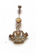 Creative Style Crown Charm Rhinestone Body Piercing Jewellery Belly Button Ring Navel Jewellery