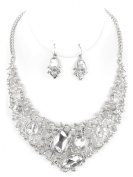 Festive Sylvester Necklace Bib Statement Necklace Earrings Parure Crystal and Clear Glass