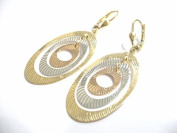 YELLOW GOLD EARRINGS WHITE E PINK 18KT HANGING OVALS TRICOLOUR A HOOK EARWIRE