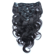 ALi Queen 41cm Off Black 1B# Virgin Brazilian Body Wave 100g Clip In Human Hair Extension 8pcs/set Clip In Hair Accessories + 1pcs Plait
