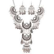 Chic Retro Silver Plated Womens Pendant Rhinestone Party Chain Necklace Earrings