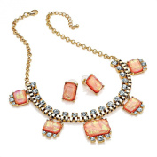 Classic Gold colour crystal and peach marble effect bead chain necklace and earring set   SAVE 50%   FREE UK DELIVERY