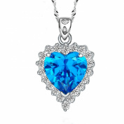 Jade Angel Sterling Silver Created Blue Topaz Heart Pendant Necklace 46cm Chain Necklace