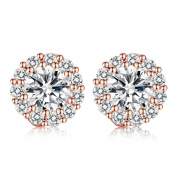 Presentski . Stud Earring with Round Design Swiss CZ Crystal for Wedding Romantic Jewellery Collection