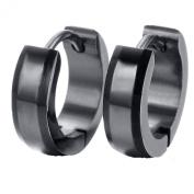 HIJONES Men's jewellery 316l Stainless Steel Circular Black Earrings