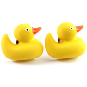 FUNKY YELLOW DUCK STUD EARRINGS GIRLS QUIRKY NOVELTY RETRO COOL FUN GIFT RUBBER DUCKY