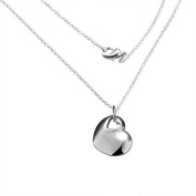 Silver Plated Double Hollow Love Heart With Heart Hole Pendant Necklace
