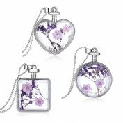 Stayoung 3pcs Transparent Purple Dried Lavender Crystal Square Perfume Bottle Heart-Shaped Round Pendant Necklace for Women