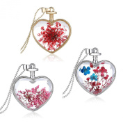 Stayoung 3pcs Transparent Red Dried Flower Crystal Heart-Shaped Pendant Necklace for Women