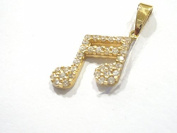 YELLOW GOLD PENDANT 18KT MUSICAL NOTE WITH ZIRCONS