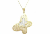 "NECKLACE YELLOW GOLD 18KT WITH PENDANT BICOLOR ""BUTTERFLY A NET"" - PENDANT WHITE E YELLOW"