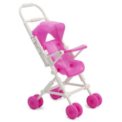 SelfTek Lovely For Barbie Doll Plastic Baby Carriage Walking Stroller Trolley Pink