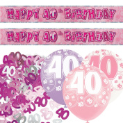 Pink Silver Girl Glitz 40th Birthday Banner Party Decoration Pack Kit Set