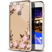 iPhone 6S Plus Case,iPhone 6 Plus Case,NSSTAR Pink Butterfly Floral Flower Glitter Bling Crystal Rhinestone Diamond Clear Rubber Golden Plating TPU Soft Bumper Case Cover for iPhone 6/6S Plus 14cm