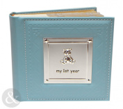 My 1St Year Baby Boy Photo Album - Faux Leather Blue Baby Picture Album