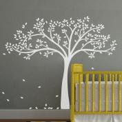 Monochromatic Fall Tree Extended Wall Decal Tree Wall Sticker Vinyl Tree Decal Nursery Wall Art Decoration White