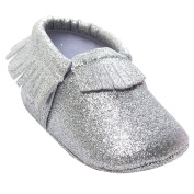 TANGDA Infant Baby Toddler Newborn Cloth Soft Sole Shiny Bling Tassel Pre-Walkers First Walkers Moccasins Slip-on Crib Shoes Silver Size 11