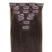 """16 Inch (Col 2).Dark Brown Full Head 7 PCS Clip in Remy 100% Human Hair Extensions. 18""""20""""22""""all colours 70g Weight"""