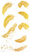 """GGSELL GGSELL waterproof and non toxic product dimension 6.69""""x3.74""""(17*9.5cm) feather with flying birds Golden gold temporary tattoos"""