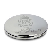 Personalised Compact Mirror And Pouch Keep Calm Design