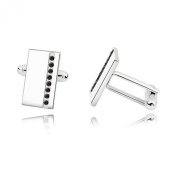Cufflinks with. Black Crystals - Comes with Gift Box - Ideal Gift for Men