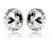 Big 925 Sterling Silver Stud Earrings for Women Clear (White) Made with. Crystals