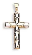 Hallmarked 9ct White & Yellow Gold Cross Pendant