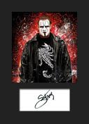 STING #4 WWE Signed Mounted Photo A5 Print
