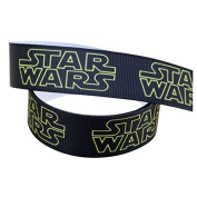 2m x 22mm New STAR WARS Black & Yellow GROSGRAIN RIBBON FOR BIRTHDAY CAKES WRAPPING CARDS