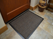 Machine Washable Beige Brown Heavy Duty Quality Non Slip Hard Wearing Barrier Mat PVC Edged. Available in 15 sizes