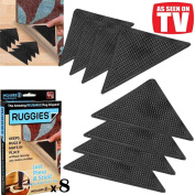 8 X RUG CARPET MAT GRIPPERS RUGGIES NON SLIP SKID REUSABLE WASHABLE GRIPS UK NEW