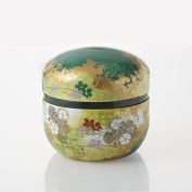 TOKYO MATCHA SELECTION - Hanazoroe Japanese Tea canister : Steel Tea Caddy Can (S) for 100g leaf - Japanese Traditional Design [Standard shipping by SAL
