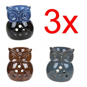 3 X OWL OIL BURNER YANKEE CANDLE TART WAX MELT AROMATHERAPY FRAGRANCE CERAMIC