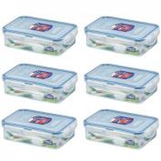 6 X Lock & Lock Food Storage 550ml Rectangular Box HPL815