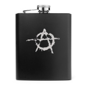 Matte Black 210ml Stainless Steel Hip Flask FS01 Anarchy