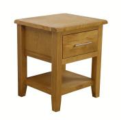 Nebraska Oak - 1 Drawer Lamp Table With Shelf & Drawer / Living Room Furniture