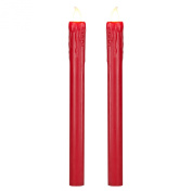 Pair of Red Wax Battery Operated LED Taper Candles by Lights4fun