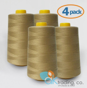 AK-Trading 4-Pack CAMEL Serger Cone Thread (4000 yards each) of Polyester thread for Sewing, Quilting, Serger