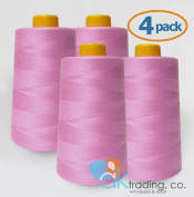 AK-Trading 4-Pack ROSE PINK Serger Cone Thread (4000 yards each) of Polyester thread for Sewing, Quilting, Serger