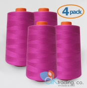 AK-Trading 4-Pack HOT PINK Serger Cone Thread (4000 yards each) of Polyester thread for Sewing, Quilting, Serger
