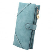 TechSmile® Fashion Leather Wallet Button Purse Lady Long Women's Handbag -Light blue