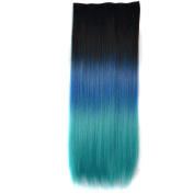 Abwin Black to Peacock Green Coloured Clip in Hair Extensions