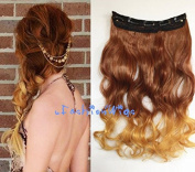 Dark Orange Brown to Orange Blonde Curly Two Colours Clips in Ombre Hair Extension, High Heat Resistant Synthetic Hair Extensions UF350T144