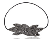 Black Gunmetal Grey Beaded Floral Leaf Bunch Retro Flapper Fashion Elastic Hair Headband