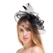 Valdler Elegant Women Lady Girls Rhinestone Net and Veil Fascinator Hair Clip Hat with Embroidered Flowers