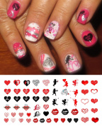 Valentine's Day Nail Decals Assortment Water Slide Nail Art Decals - Salon Quality 14cm X 7.6cm Sheet!