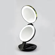 BasicWu LED Lighted Makeup Mirror,Compact Folding Luxury Double Side Magnifying Beauty Cosmetic Mirror,Magnifies 5x and 1x,for Travel,Pocket,Bag,Home