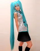 Diforbeauty Long Straight Miku's Day Vocaloid Hatsune Miku Costume Cosplay Wig with Two 130cm Claws & ponytail Extensions