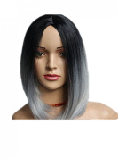 Kalyss® Women's Short Bob Grey Black Fashion Top Quality Synthetic Hair Wigs for Women
