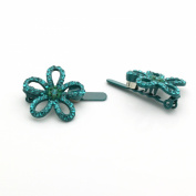 DoubleAccent Hair Jewellery Flower Magnet Barrette, Teal